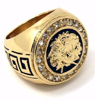 (Mens 14K Gold Plated Hip Hop Iced Medusa Face Ring Sizes 7 8 9 10 11 12 MR12)