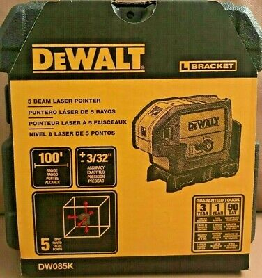 New Dewalt Dw085k 5 Beam Self Leveling Laser Pointer With Hardside Case