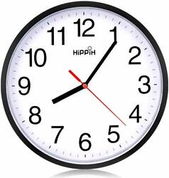 Black Wall Clock Silent Non Ticking Quality Quartz by Hippih, 10 Inch Round Easy