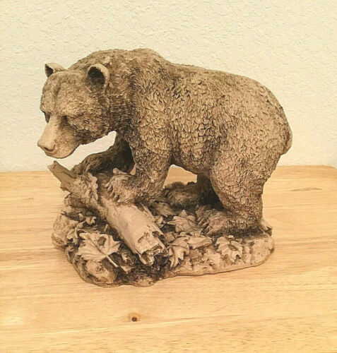 "Vintage Brown Grizzly Bear Resin Sculpture Figurine  Large 9"" X 7.5"""