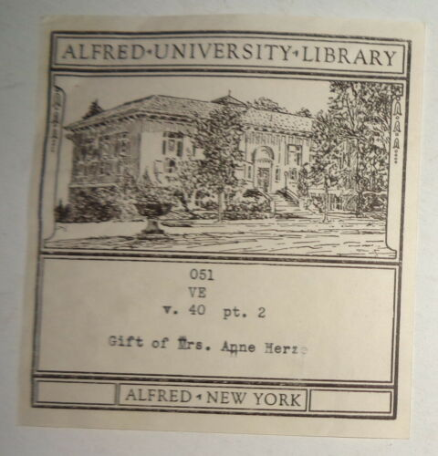 Alfred University Library Bookplate - by the Roycrofters