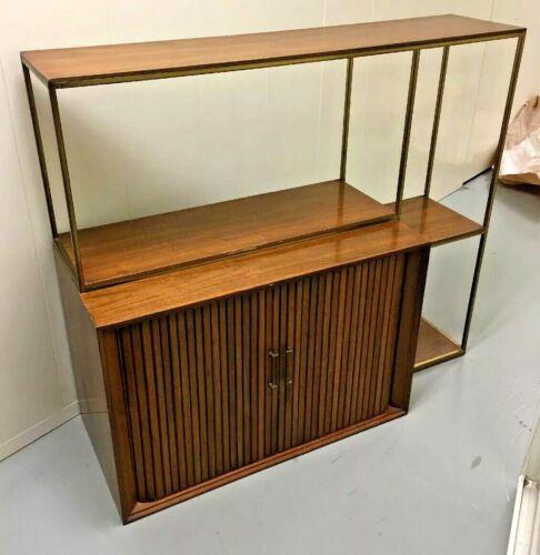 Mid Century Modern Bar Cabinet Etegier w Brass Frame