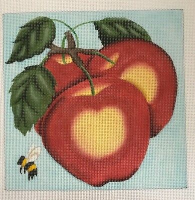 Melissa Shirley Designs, Apples and Bee, hand painted needlepoint canvas