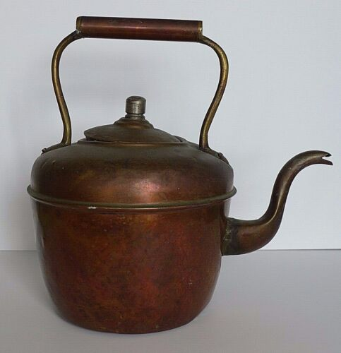 Antique Hazaz Frères French Solid Copper Teakettle Gooseneck 19th Century France