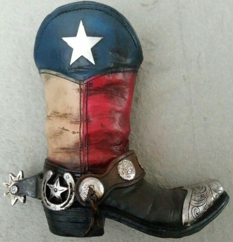 "Texas Cowboy Boot for Plant or Desk Decoration 9""x7.5"" Ceramic Resin Home Decor"