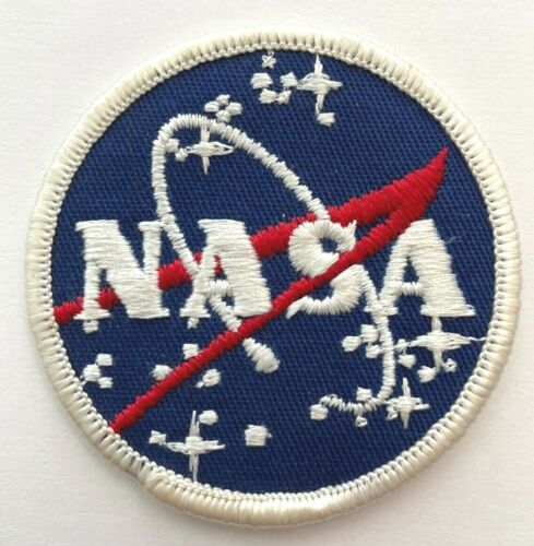 """Vintage Rare NASA Meatball Vector Patch -- Blue Twill and White Border  2.5"""" dia"""