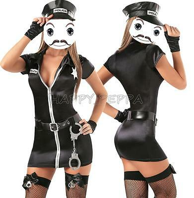 Lady Black Police Woman Costume Cop Uniform Officer Halloween Fancy Dress Outfit