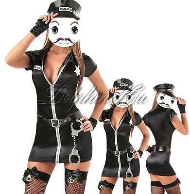 Black Sexy Police Uniform Officer Costume Women's Halloween Cosplay Fancy Dress - Fashion Police Halloween Costume