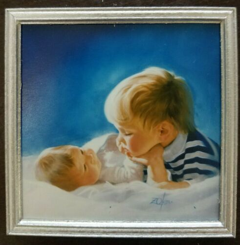 Donald Zolan - 1992 Brotherly Love framed miniature with easel - COA included