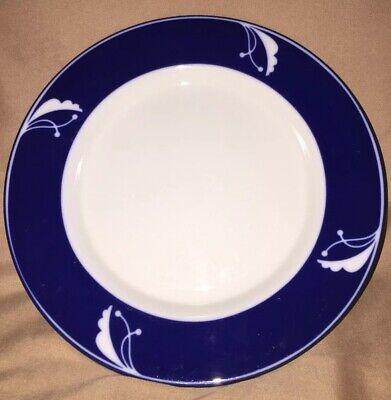 Dansk Flora Indigo Salad Plate White With Blue Rim -