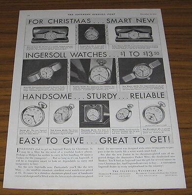 1930 Vintage Ad Ingersoll Watch Wrist and Pocket Watches Waterbury Co.