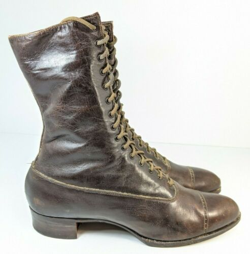 Lace-Up Boots Shoes Roberts Johnson Rand Brown Leather Antique Victorian Style