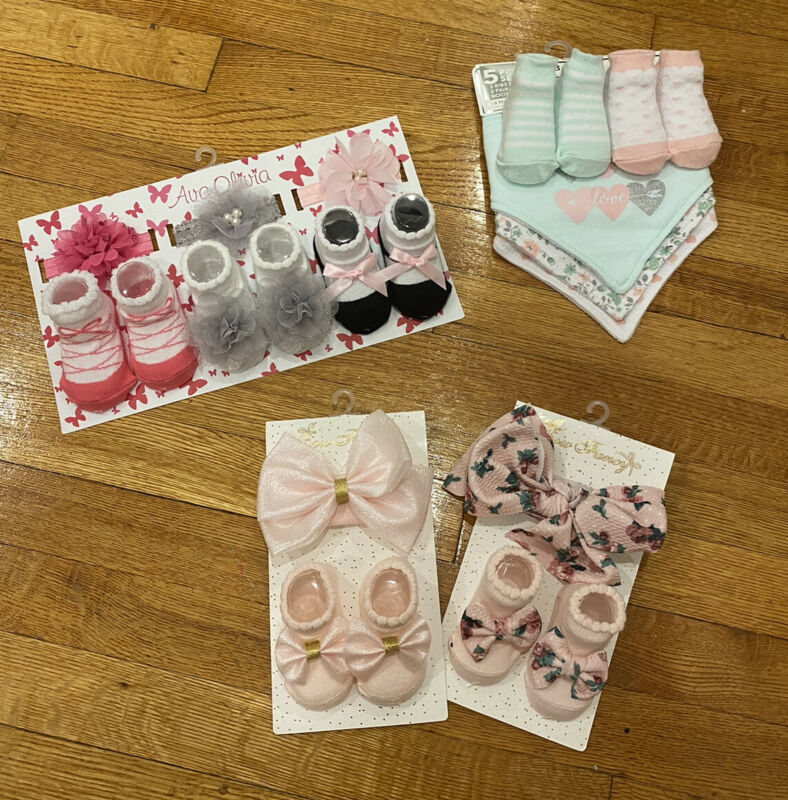 LOT Baby Girls Booties Socks Bows Bibs  15 Pieces