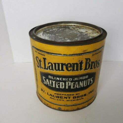 St. Laurents Blanched Jumbo Salted Peanuts Can Vintage Bay City, Michigan
