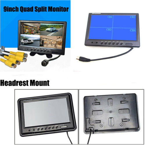 "9"" TFT LCD Car Dash Monitors 4 Split Screen Headrest Rearview Monitor with Mount"