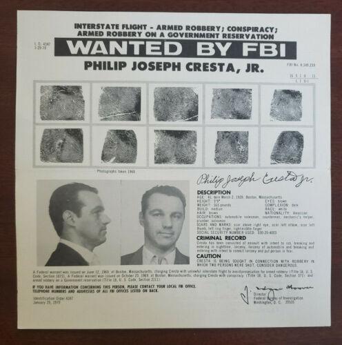 Original 1970 Philip Cresta FBI Wanted Poster Brink