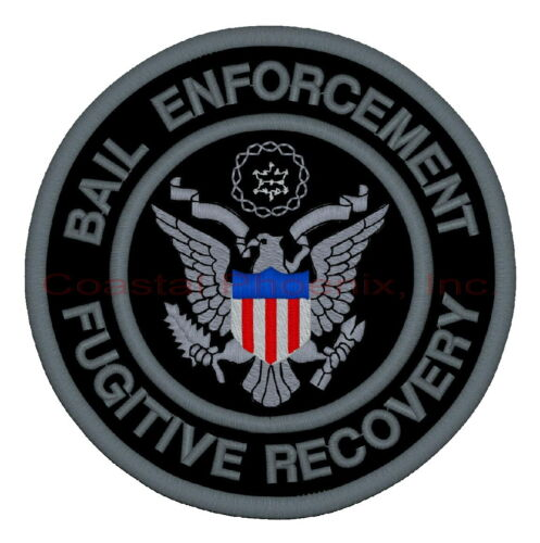 """Bail Enforcement Fugitive Recovery Black & Gray Patch 10"""""""