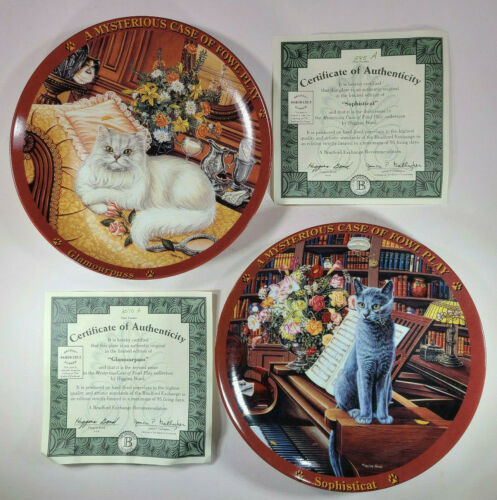 Higgins Bond Kitty Cat Mysterious Case Collector Plate Mint Lot Vintage 🐈