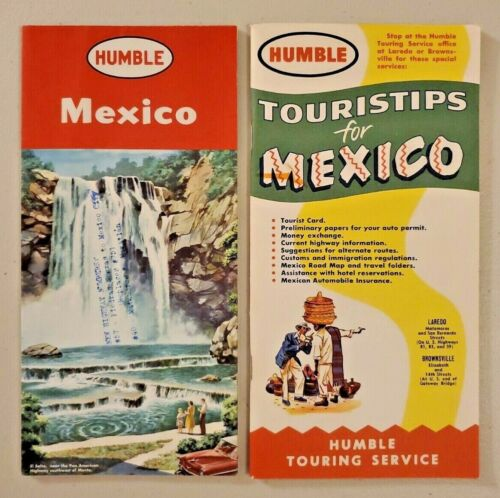 1957 Humble Oil Road Map of Mexico and 1956 Tourstrips for Mexico