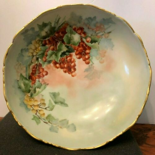 Antique T&V Limoges Gold-Footed Bowl Hand-Painted Grapes & Vines, Gold Accents