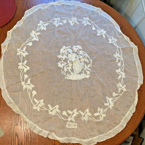 """Antique Needlepoint Lace? Work Round Floral Sheer Silk Tablecloth 37"""""""