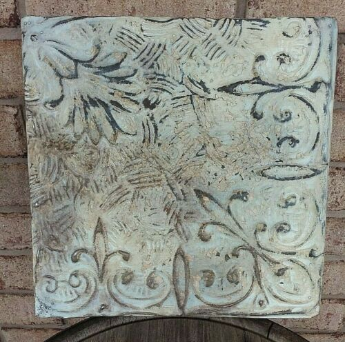 "11"" x 11 Repurposed Antique Tin Ceiling Tile Wrapped Frame ~ Farm Shabby Chippy"