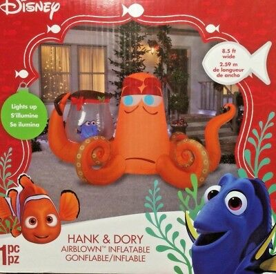 NEW 8.5 FT LONG LIGHTED DISNEY CHRISTMAS FINDING DORY HANK INFLATABLE BY GEMMY