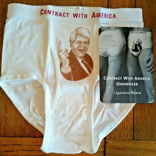 """RARE 1995 Newt Gingrich """"Contract with America"""" Silkscreen Underwear 87/120 MINT"""
