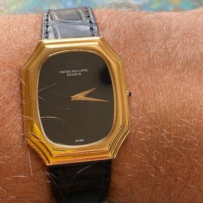 PATEK PHILIPPE REF. 3629 VINTAGE 18KT YELLOW GOLD WATCH 100% GENUINE ONYX DIAL