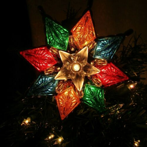 """Bright Star 8.5 """"  Christmas Tree Topper  both Sides Light Up Electric"""