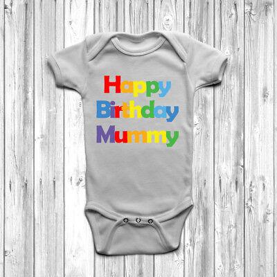 Happy Birthday Mummy Baby Grow Body Suit Vest Cute Present Gift Mother ()