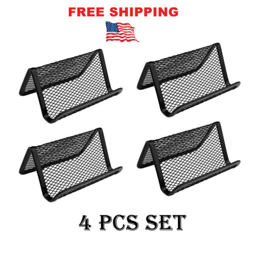 4 pcs Black Metal Mesh Business Card Holder display Organizer stand Office Desk