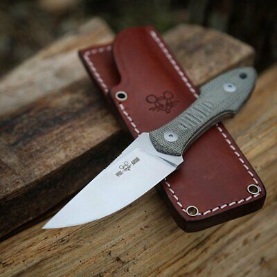 GIANT MOUSE ACE KNIVES GMF3 GREEN MICARTA N690 STEEL FIXED BLADE KNIFE W/SHEATH
