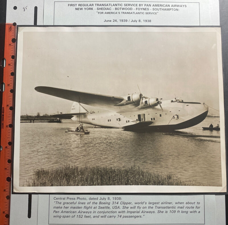 Pan American Flying Boat First Trans Atlantic Service Real Photo 1938
