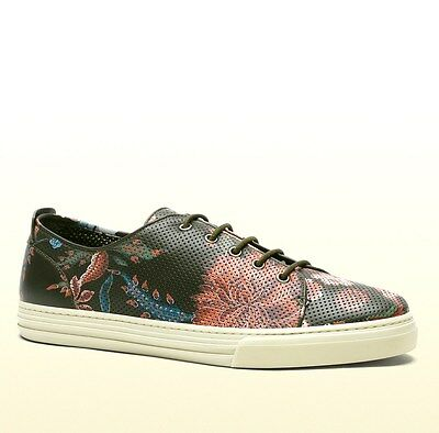 New Authentic Gucci Mens Flower Print Leather Lace-up Sneaker 342049 3035