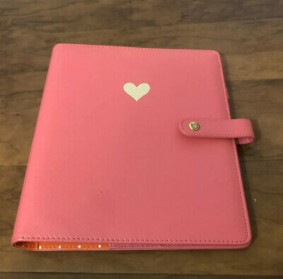 Classic Gold Heart Pink Faux Leather The Happy Planner Binder 9.5 X 10.5