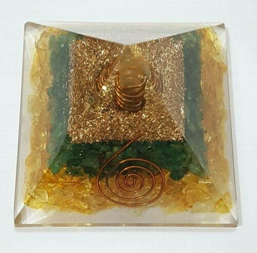 Prosperity Orgone Pyramid 70mm Citrine Green Aventurine Crystals Copper Pyrite