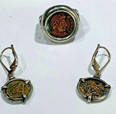 Greek 100 BC Bronze Prutah Coins & Sterling Alexander Great Ring & Earrings EREZ