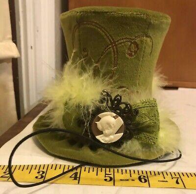 Disney Parks Novelty Tinkerbell Dapper Top Hat Green Mini Velvet Adult Steampunk