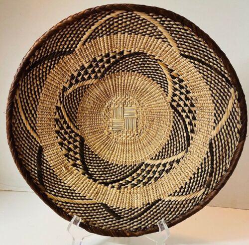 """13"""" African Tonga Binga Batonga Tribe Woven Basket Geometric Vintage Zimbabwe"""
