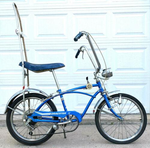 Huffy Dragster V Rail Muscle Bike Bicycle-5 Speed-Blue-Banana Seat-Sissy Bar-Vtg