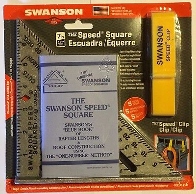 "SWANSON S0101-C 7"" Speed Square with ""Blue Book"" & Speed Clip"