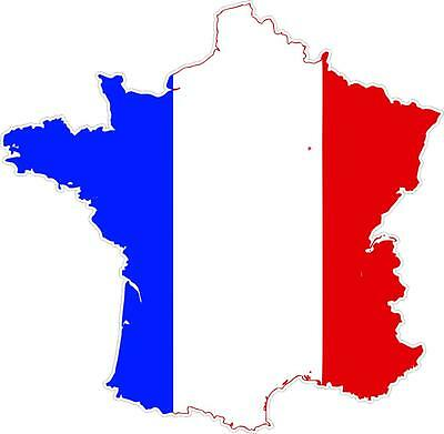 Sticker car moto map flag vinyl outside wall decal macbbook france french ()