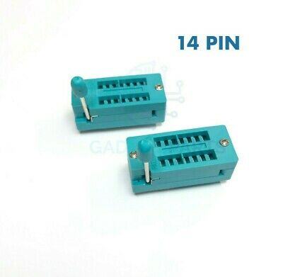 High Quality 2x New 14 Pin 2.54mm Zif Zip Ic Test Dip Board Socket Free Shipping