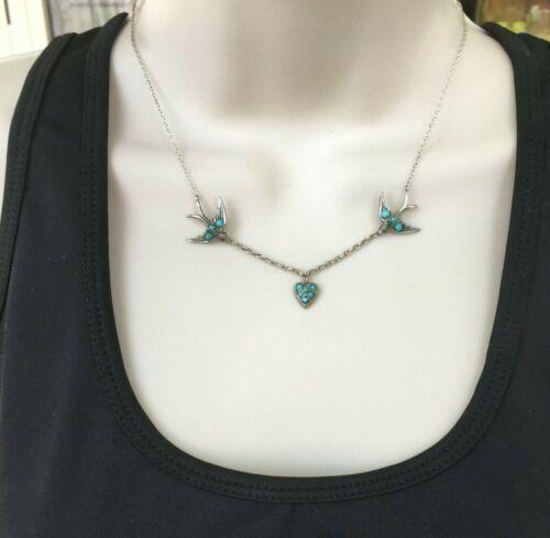 Antique Victorian Swallow Heart Turquoise Silver Necklace Pendant Mayer Nouveau