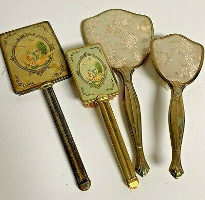 2 Sets Vanity Hand Mirror Brush Set Art Deco Ornate Brass Bird Bath & Roses