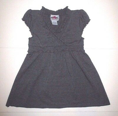 GIRLS FLOWERS BY ZOE CHARCOAL GRAY SMOCK WAIST DRESS SIZE 4 (Charcoal Flower Girl Dresses)