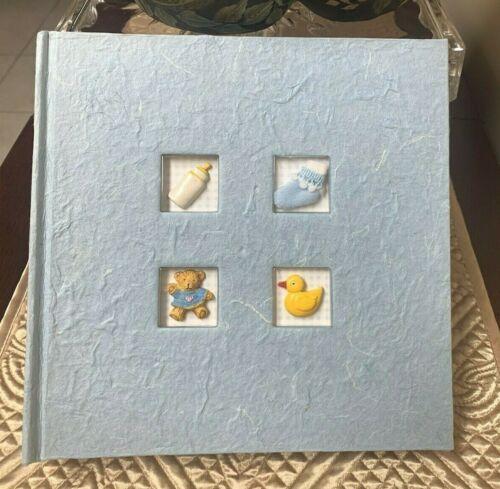 Brown Bear Duck Theme White & Blue Baby Boy Photo Album - 4x6 Photos
