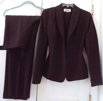 LE SUIT 6 2-PIECE DARK BROWN BLAZER JACKET & DRESS PANT SUIT #48SM (BOTH LINED!)