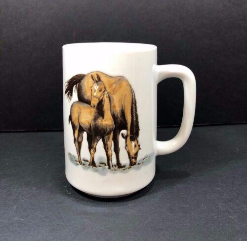 "VTG Otagiri Coffee Mug Darrin Cook Mare Horse & Foal 5"" Japan Porcelain Embossed"